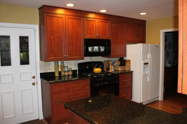Dark Cherry Laminate Transitional Kitchen with Black Granite in Fairfax, VA transitional-kitchen