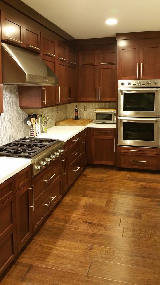 Dark Cherry Shaker Kitchen Cabinets - Contemporary ...