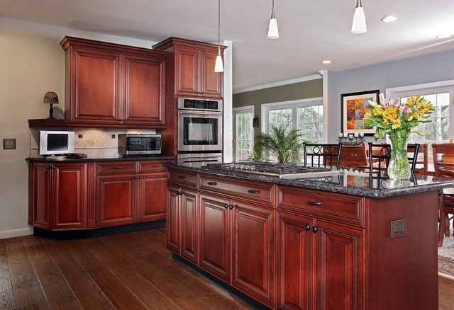 Grey Kitchen Walls With Cherry Cabinets dark cherry with gray accents - traditional - kitchen - new york