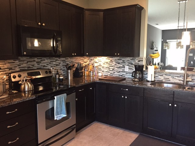 Dark Espresso Shaker Cabinets With Mosaic Tile Backsplashtransitional Kitchen