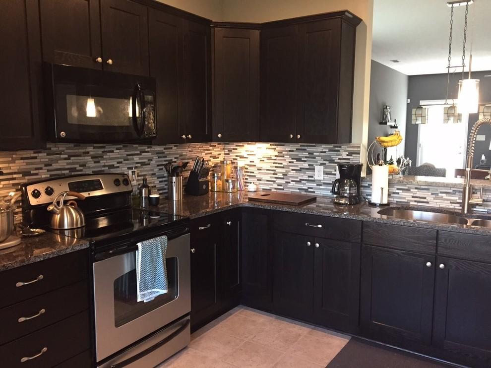 Dark Espresso Shaker Cabinets With Mosaic Tile Backsplash Transitional Kitchen Other By Unique Granite Marble