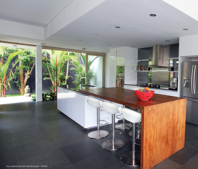 Dark Grey Stone Field Tile Contemporary Kitchen San