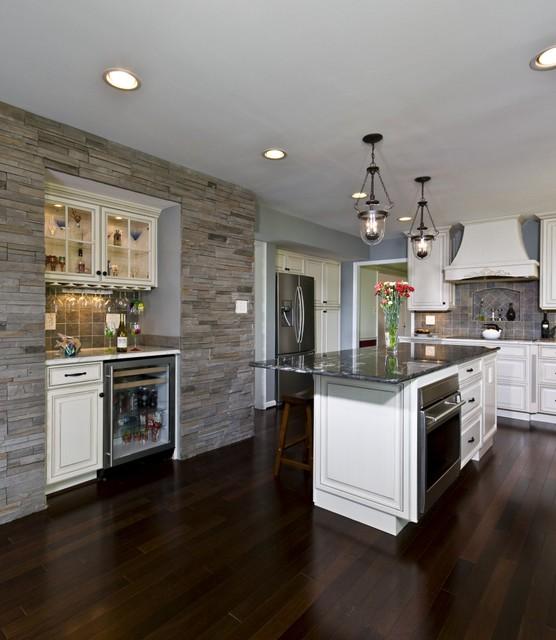 Dark Mahogany Wood Floor Stone Wall Bench Seat Bring Kitchen To Life