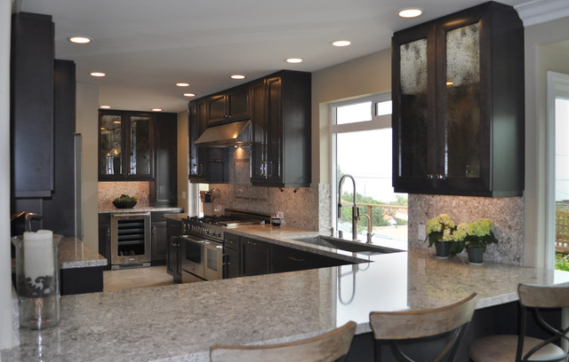 Dark Maple Cabinets Contemporary Kitchen