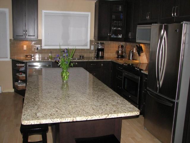 Dark maple kitchen in Saanich Contemporary Kitchen