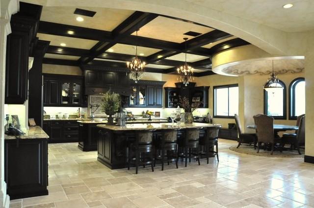 Dark Maple Kitchen Mediterranean Kitchen Los Angeles