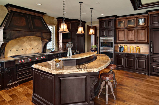 Dark mixed wood custom cabinets traditional kitchen for Traditional dark kitchen cabinets