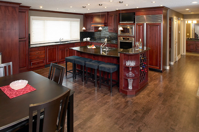 Dark stain Maple hardwood floor Contemporary Kitchen