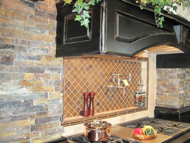 Dark Stone European Inspired Kitchen traditional-kitchen
