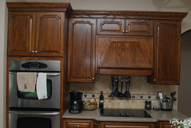 Dark Walnut Stained Cabinets Traditional Kitchen