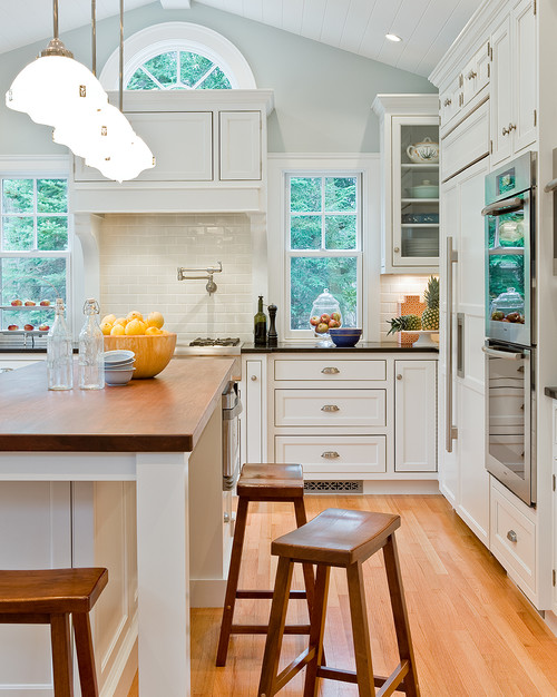 Walls Palladian Blue-Cabinets White Dove Benjamin Moore