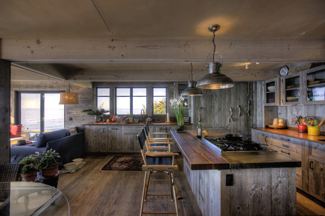 Rustic pendant lighting houzz open concept kitchen rustic open concept kitchen idea in santa barbara with glass front mozeypictures Image collections