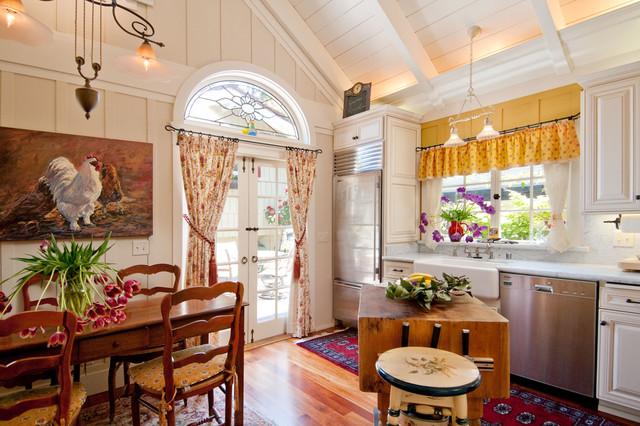 farmhouse kitchen idea in seattle with a farmhouse sink marble countertops raised panel - Stone Slab Kitchen Decor