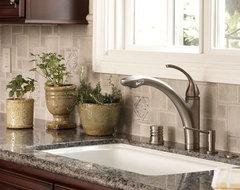 Debris Series Recycled Tile Kitchen Backsplash in Malt with Decorative Tile Acce traditional-kitchen