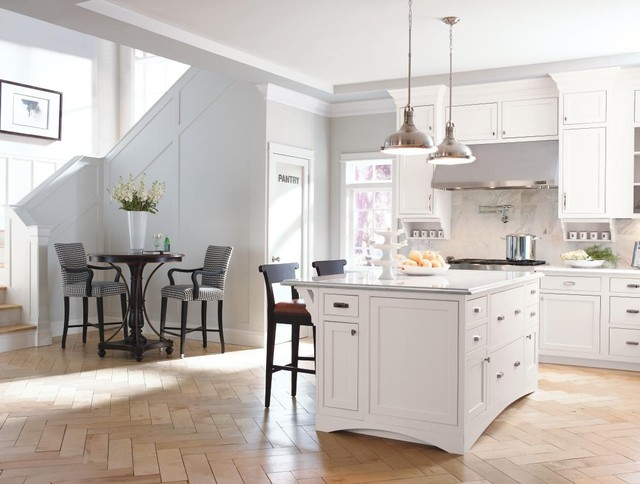 Decora cabinetry prescott beaded inset maple white for White maple kitchen cabinets