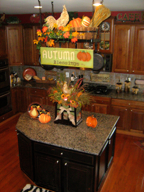 Decorate Your Pot Rack For Fall Traditional Kitchen Dc Metro
