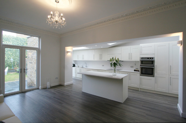 mid sized trendy galley eat in kitchen photo in london with an undermount sink amtico flooring   houzz  rh   houzz com