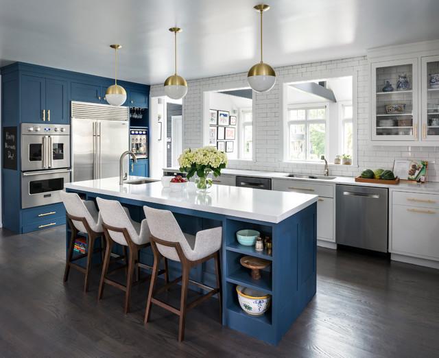 Deep Blue Kitchen Larchmont Manor