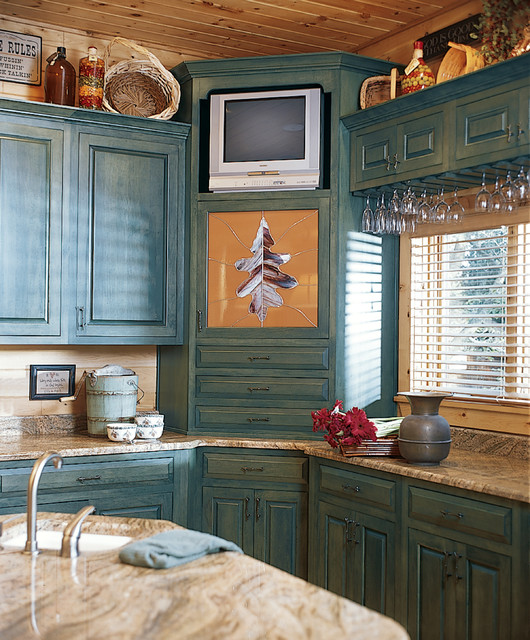 Knotty Pine Cabinets Makeover: Deep Creek Lake, MD Waterfront Log Home