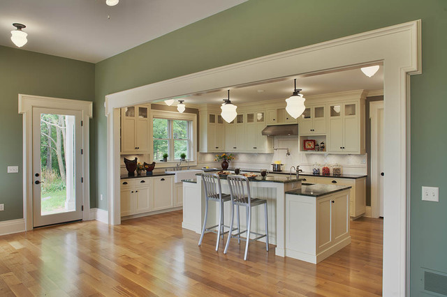 Deep Green Addition Italianate Farmhouse - Country - Kitchen ...