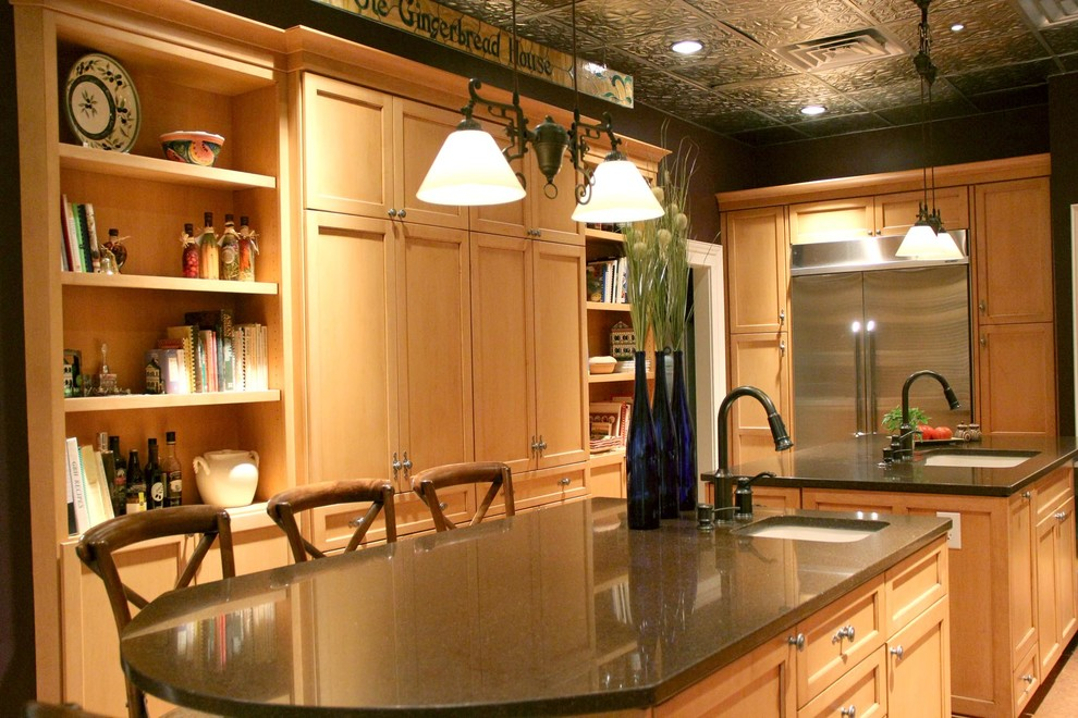 Deep, rich surface with maple cabinetry