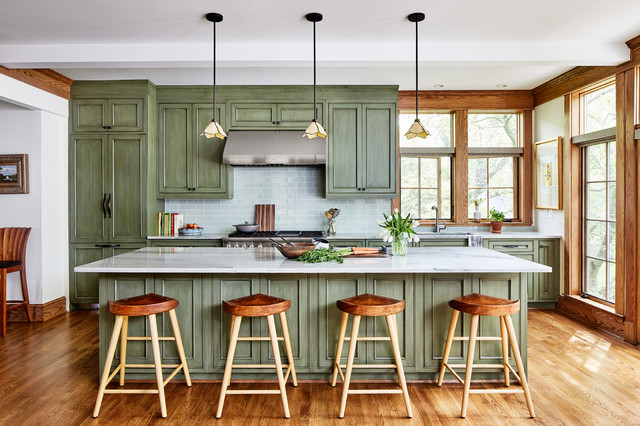 Green Cabinets Bring Weathered Charm