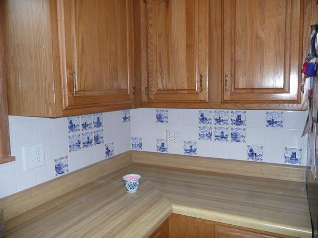 Delft Blue Kitchen Back Splash Blue and White Ceramic Tile traditional-kitchen