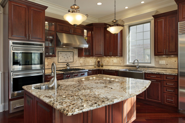 Delicatus Gold Granite Countertop With Travertine Back Splashes Traditional Kitchen Other