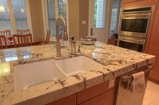 Delicatus Vintage Mitered Edge Granite Countertops Edmonton Traditional Kitchen