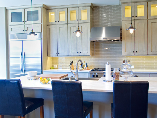 Desert Storm Kitchen with Stacked Cabinets