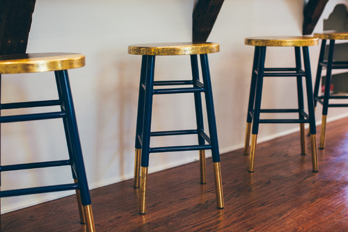 Gold and Navy Kitchen Stools