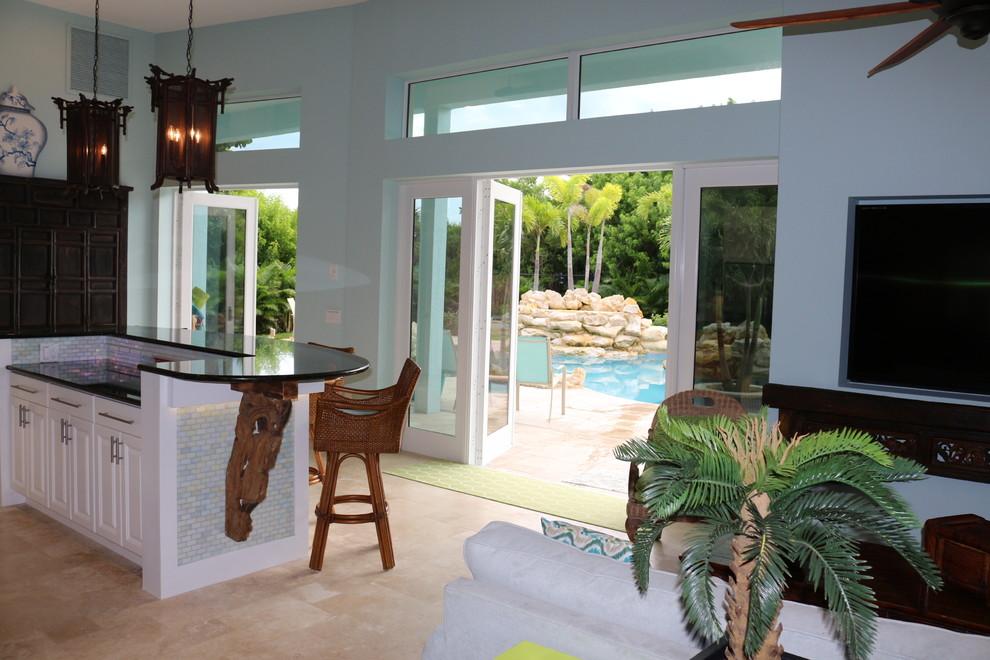 Example of a zen kitchen design in Miami