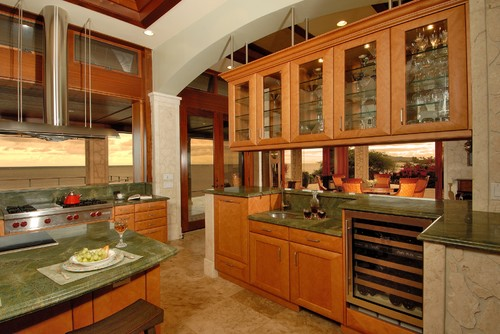 How are the cabinets suspended for Kitchen design 70115