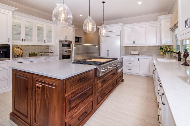 Designer white custom inset kitchen cabinets with walnut ...