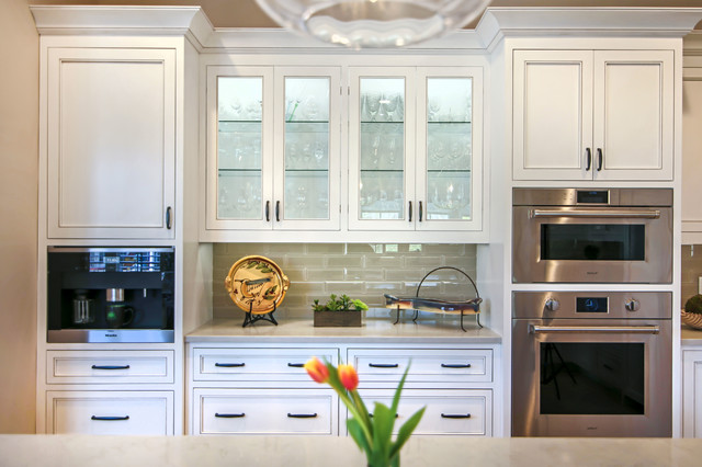 Designer White Kitchen Inset Custom Cabinets And Glass Doors With Glass Shelves Transitional Kitchen Charlotte By Walker Woodworking