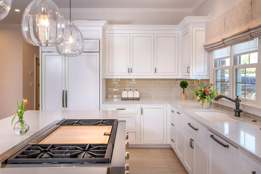 Designer white kitchen with walnut island - Unique ...