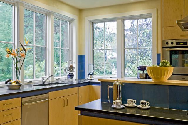Detail of kitchen toward corner window contemporary - Corner windows in kitchen ...