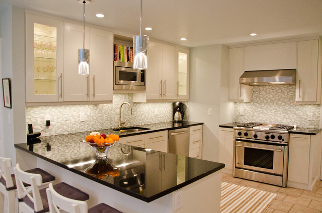 Example Of A Transitional Kitchen Design In New York With Mosaic Tile  Backsplash And Stainless Steel