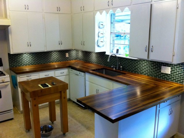 devos woodworking walnut countertops fit nicely in mid century decor transitional kitchen - Mid Century Decor