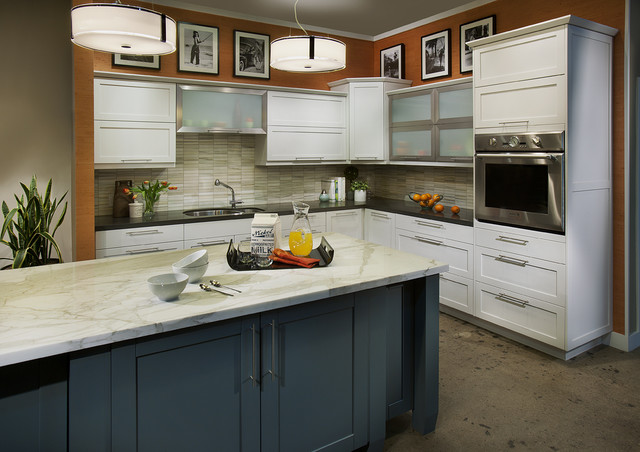 Dewils white painted craftsman kitchen with blue island contemporary