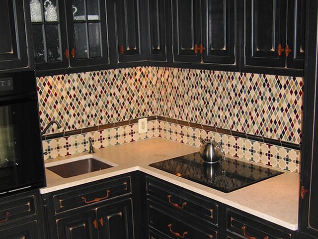 diamond backsplash eclectic kitchen portland by