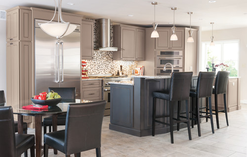 Painted Kitchen Cabinets with Black Island