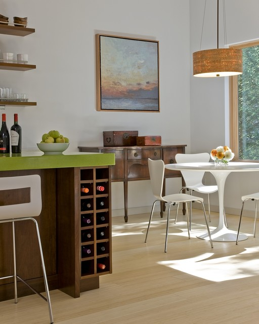 Dining area and wine storage modern kitchen boston by zeroenergy design - Small space wine racks design ...