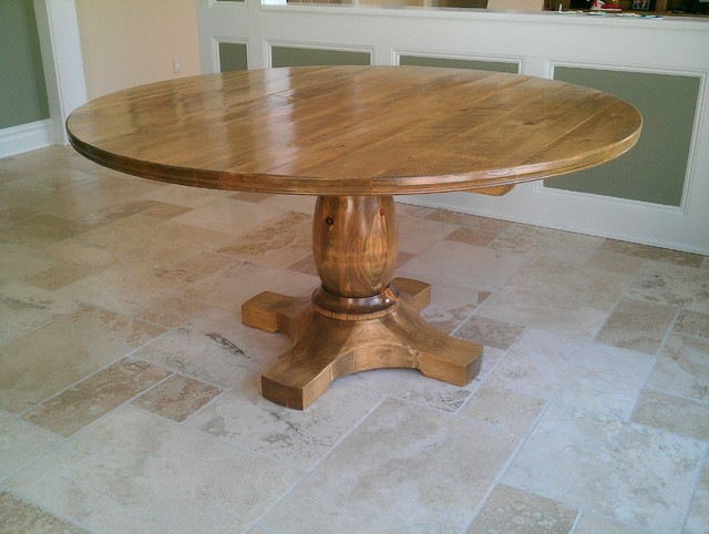 Dining Table Pedestal Design Pine Wood Eclectic