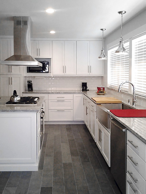 Direct Depot | White Modern Shaker Kitchen with Red Accents ...