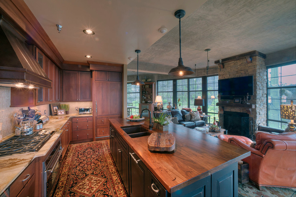 Distressed Black Walnut Island Countertop In Rustic Traditional Kitchen Traditional Kitchen Atlanta By Craft Art Elegant Surfaces