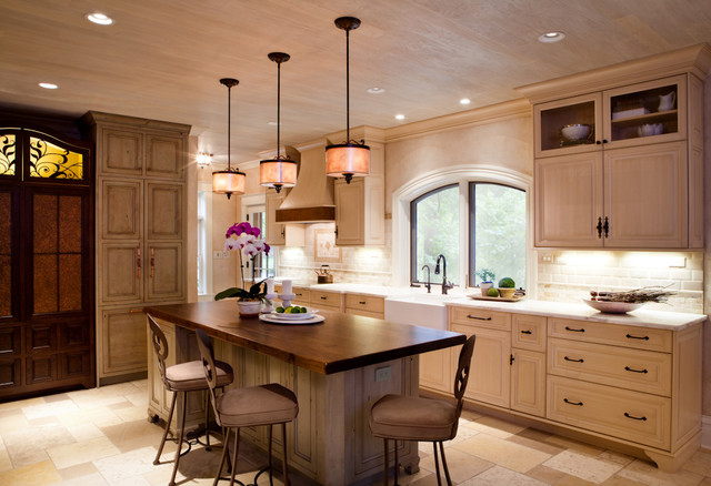 Distressed cream cabinets kitchen renovation st louis mo - Cream distressed kitchen cabinets ...
