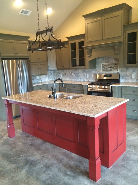Distressed Red Island with Granite Top  Rustic  Kitchen  little