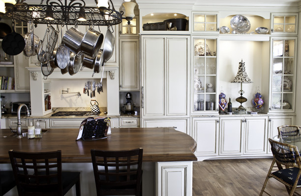 Distressed Walnut Countertop traditional-kitchen