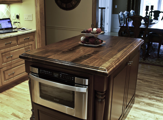 Beau Distressed Walnut Countertop Traditional Kitchen